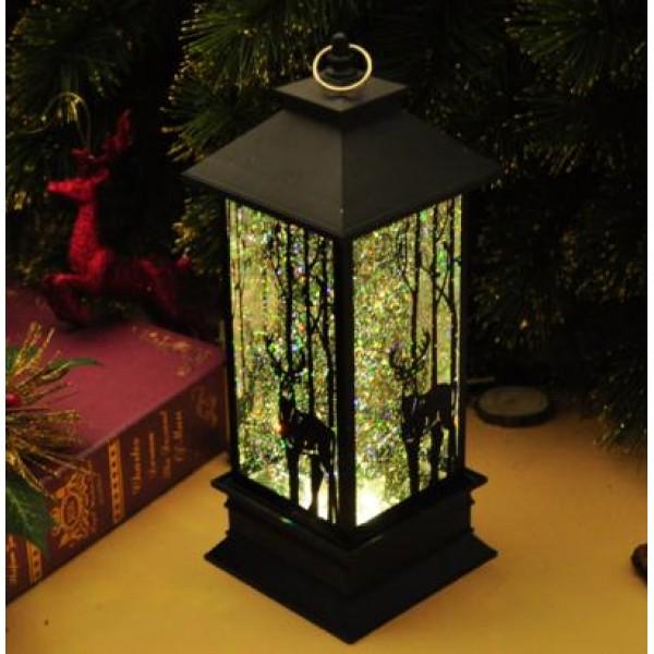 liquid swirling glitter plastic christmas lantern lights