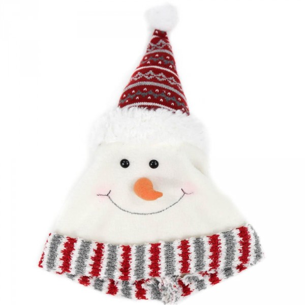 Lovely Snowman Pattern Knitted Fabric Christmas Hat